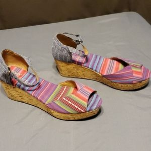 Tom's cork wedges multi colored